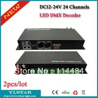 2pcs/lot DC12V-24V 24 Channels Led RGB DMX512 Decoder, Max. 3A per Channel, 12V<864W; 24V<1728W, CE and RoHS, 2 years Warranty