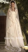 V12 Charming tulle off white long lace cathedral veils