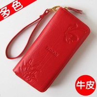 2013 zip wallet women genuine leather clutch wome  long designer fashion wallet  female purse red and 24 design  free shipping
