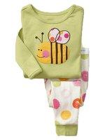 children girl bee sleeping wear children pyjamas children pajamas free shipping baby clothing set 6sets/lot