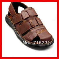 2013 free shipping low price buckle shoes cow brand designer flat genuine leather men sneaker sandals