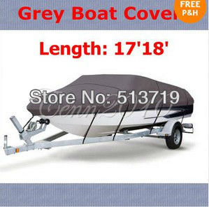 Free shipping New Grey Fishing Ski Boat Cover for 17'18'550cm Heavy Duty Trailerable V-Hull(China (Mainland))