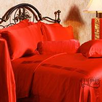 Wedding bedding red silk bedding silk piece set 100 mulberry silk