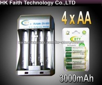Hi-speed Quick AA AAA Rechargeable Battery BTY Charger +4x AA 3000mAh 1.2V NI-MH Rechargeable Battery BTY