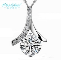 """""""Poshfeel"""" brand Genuine 925 sterling silver necklace platinum plated zircon crystal ladies pendant necklace Mother plot gift!"""