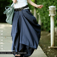 Original design 2013 spring and summer  pocket linen irregular long skirts