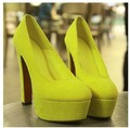 Free shipping/2013 New  yellow thick heels nightclub sexy super-high heels waterproof Taiwan Round OL shoes