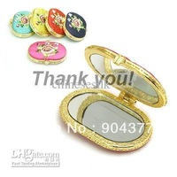 Oval Retro Compact Mirrors Favors Silk Embroidered Double Sided 35 pcs/lot mix color Free