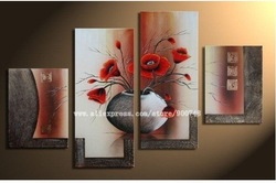 100% hand painted free shipping The Mangnolia Flower Oil Painting on Canvas Wall Art Top Home Decoration 4pcs set(China (Mainland))