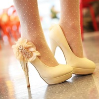 2013 Free Shipping Sweet Lady Women's High-Heel Shoes.High Platform Shoes For Female,  Rhinestone Flower The Weeding Pumps.