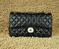 Top quality flap luxury original brand classic real lambskin leather black fashion handbag shoulder bag free shipping wholesale