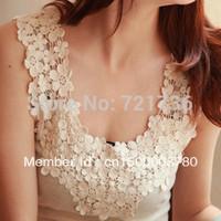 Lace decoration basic spaghetti strap vest cutout patchwork