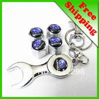 Subaru Car tire valve caps 4pcs + wrench key chain freeshipping
