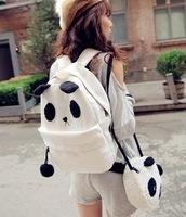 Animal cute two cartoon bag panda backpack casual womens canvas texture canvas bag for girls school Mother+Baby backpack