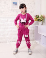 Hot 2013 Children Casual Suit Girl Sports Set Child Clothes Fashion Spring Autumn Butterfly Lace Knitted Free Shipping