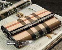 Unique plaid women's wallet genuine leather wallet long design wallet Women women's plaid genuine leather