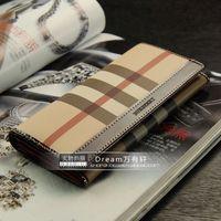 Long design plaid wallet genuine leather wallet women's intellectuality elegant deep red Women plaid