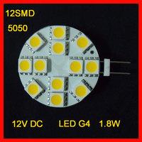 DHL Free Shipping  1.8W 140 lumen LED G4 12*5050  SMD  LED Light Warm White Bulb Lamp (12V)