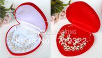 free ship EMS luxury velvet heart shape jewelry box/case 150*150*42mm packing box wedding gift box