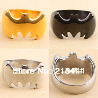 1Pc New Style Cool Solid Gold Black Silver Batman  Stainless Steel Fashion Jewelry Finger Ring