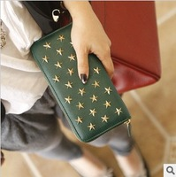 Free shipping Pear doll design long wallet female vintage rivet purse women's notecase 5 colors available
