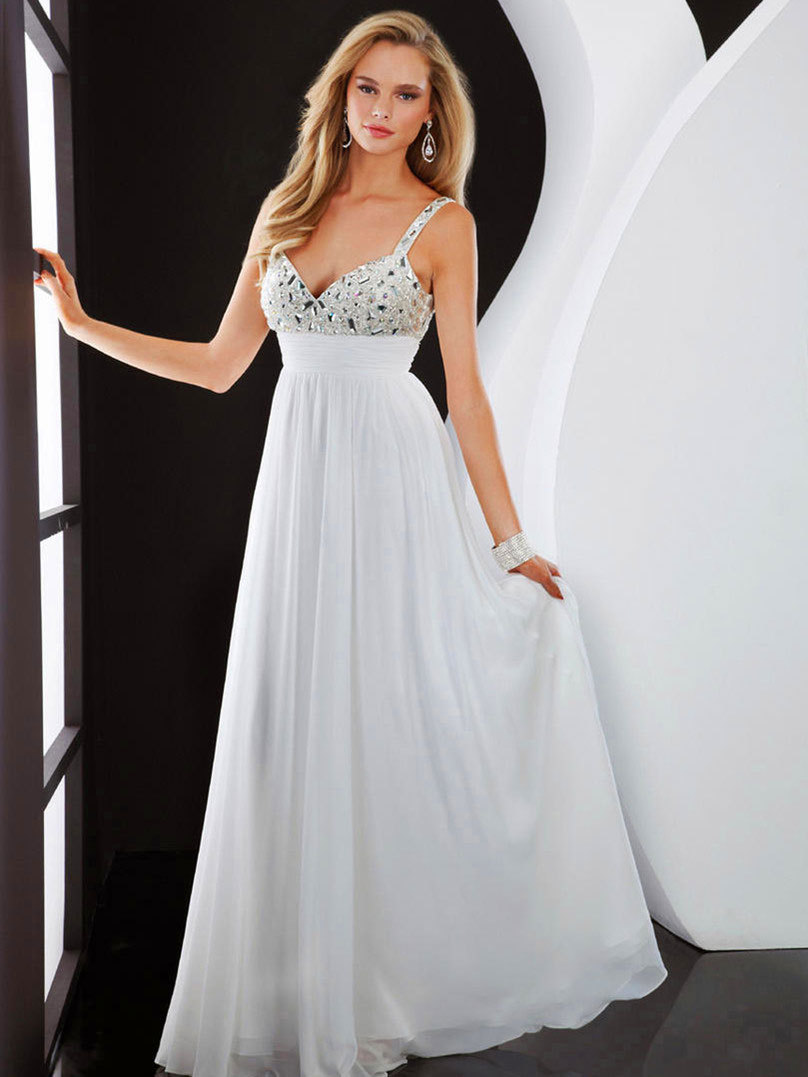 Free Shipping Pretty White A-Line Straps Floor-Length Sleeveless Beading Chiffon Prom Dress 2013(China (Mainland))