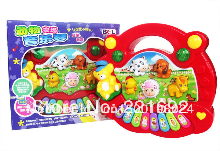 Free shipping Children Table Farm Yellow Red Music Learning Fancy Kids Toys Good New Year gift toys 1pcs(China (Mainland))
