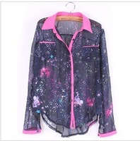 2013 New Arrival Universe Space Galaxy Design Women Blouses,Fashion T-shirts,Tops Shirts,Free Shipping,TBSH-O3