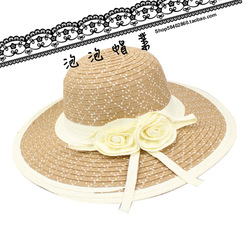 2013 Wholesale Summer New arrival female large brimmed hat straw sun hat beach hat free shipping(China (Mainland))