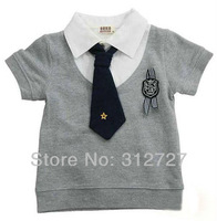 New! 5pcs/lot kids boys summer tie t-shirt children short sleeve turn-down collar tees boys gentleman tshirts
