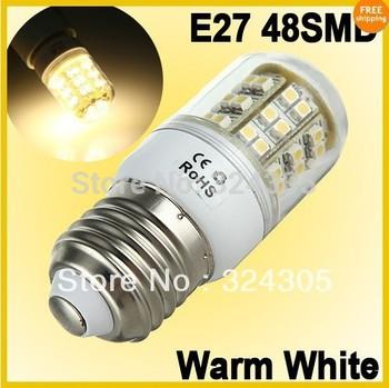 New 10X E27 48 3528 SMD 110V  LED Energy Saving Spotlight  Light Lamp Bulbs Pure White Corn bulb 3W warm white