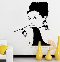 Free shipping!  [Wholesale and retail]Audrey Hepburn 49cmX59cm--Vinyl wall art mural decals wall sticker  r-38
