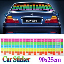 90 x 25cm Sound Music Activated EL Sheet Car Sticker Equalizer Glow Flash Panel led Multi Color Decorative Light car Accessories(China (Mainland))