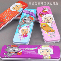 Cartoon double layer stationery box chalybeate pencil case pencil case stationery box pencil box 80g