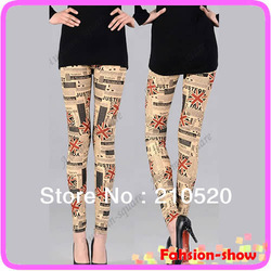 2013 Fashion UK Flag Legging Ladies Newspaper Pattern Printing Women Stretchy Tight Pants Free Shipping(China (Mainland))