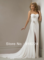 2013 Hot Sale Classic Chiffon Sheath Strapless Sleeveless Pleat Sexy Long Formal \Wedding Dresses(China (Mainland))