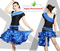 Hot style women Latin competition dress set(top+skirt)Noble lady Modern dance wear/outfit with paillettes Party costume Mix size
