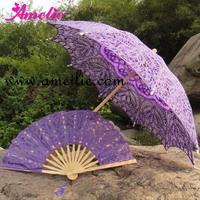 Free Shipping Purple Lace Parasol and Fan Set,Romantic Bridal Parasol Set