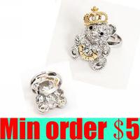 Crystal Crown Bear Ring Gold Rhinestone Crown Bear Ring Antique Rings Free Shipping B196