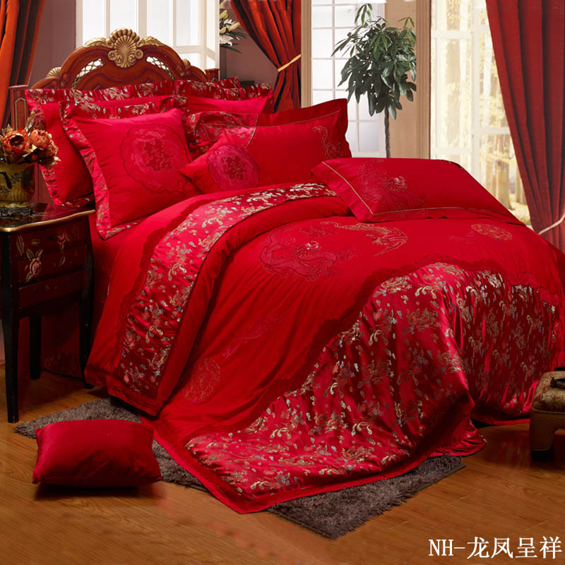 Quality wedding bedding 100% cotton satin piece set ceremonized - sistance(China (Mainland))
