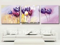Framed & Free Shipping Oil Painting 105cmx35cm Flowers Pink Purple Canvas Hand-painted wall art Deco Art HD127
