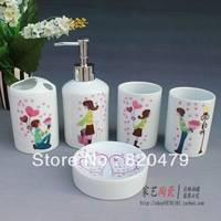 Five pieces ceramic bathroom set bathroom set bathroom toiletries shukoubei sanitary ware kit
