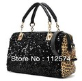 2013 new fashion leopard sequins lady's handbag