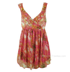 FREE SHIPPING Gloria jeans company pink flower chiffon long design vest(China (Mainland))