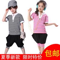 2013 summer clothing child stripe short-sleeve T-shirt shorts male female child summer sports set