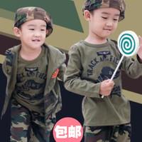 Camouflage child set male female child baby uniforms clothes sportswear underwear set