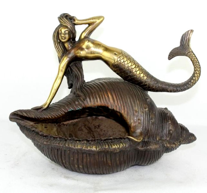 China Mermaid statue* bronze * Conch Ashtray(China (Mainland))