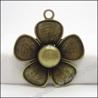 10pcs Vintage Charms  Flower Pendant Antique bronze Fit Bracelets Necklace DIY Metal Jewelry Making