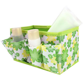 Free Shipping Cheap Non-woven Small floral Collapsible Cosmetic Storage box Desktop debris box storage box