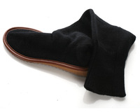 Black four seasons all-match cow muscle boots outsole yarn autumn and winter -Free Shipping